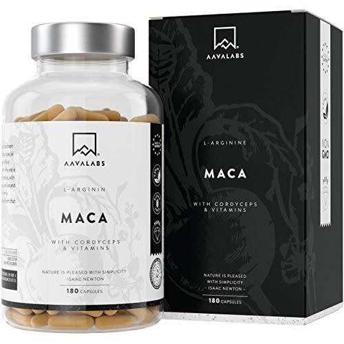 Maca L - Arginine [5600mg] Cordyceps, Extrait d'Acérola Contenant des Vitamines B6, B12 et du Zinc par Dose Quotidienne - 100% Végétalien - Testé en Laboratoire - Fabriqué dans l'UE - 180 Gélules
