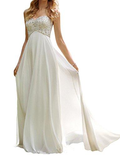 SongSurpriseMall Damen Herzenform Chiffon Brautkleider Lang Prinzessin Hochzeitskleider Weiß 44
