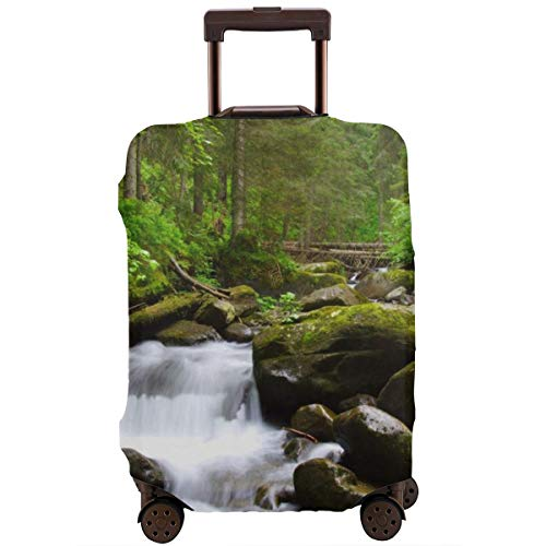 Travel Suitcase Protector,Stream Flowing In The Forest Over Mossy Rocks Tree Foliage Splash Summertime Hiking,Suitcase Cover Washable Luggage Cover L