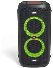 JBL PartyBox 100, draadloze bluetooth-luidspreker met lichteffecten, USB-weergave en microfoon- en gitaaringangen, met een volledig meerkleurig paneel, in zwart