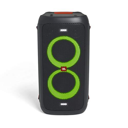 JBL PartyBox 100 in Schwarz – Tragbarer Bluetooth Party-Lautsprecher mit Lichteffekten – Spritzwassergeschützte, mobile Musikbox mit Netzteil