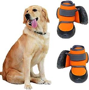 JiAmy Zapatos para Perros Botas para Perros para Patas Medianas y Grandes con Suela Antideslizante, Velcro Reflectante (Naranja 4 Piezas) (L)