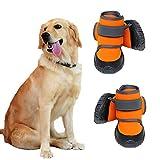 JiAmy Zapatos para Perros Botas para Perros para Patas Medianas y Grandes con Suela Antideslizante, Velcro Reflectante (Naranja 4 Piezas) (XL)