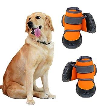 JiAmy Chaussures pour Chien Bottes imperméables pour Chien Snow Dog Booties Protection des Pattes avec Semelle antidérapante, pour Berger, Rottweiler, Bouvier Bernois