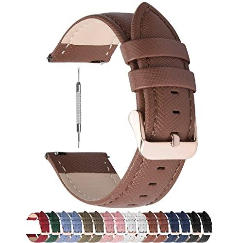 Fullmosa Colores para Correa de Reloj, Cross Piel Correa Huawei Samsung Correa/Banda/Band/Pulsera/Strap de Recambio/Reemplazo 14mm 16mm 18mm 20mm 22mm 24mm,Marrón 20mm