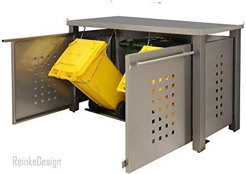 Mülltonnenbox für 3 Tonnen 240L mit Edelstahl-Abdeckung (ED222T), Mülltonnenhaus, Mülltonnenverkleidung