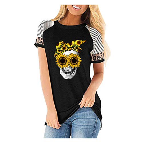KIMODO T-Shirt Tops Damenmode Lässig Blusen Elegante Oberteile Blumendruck Kurzarm V-Ausschnitt Casual Hemd Langarm Shirt (Schwarz-C, S)