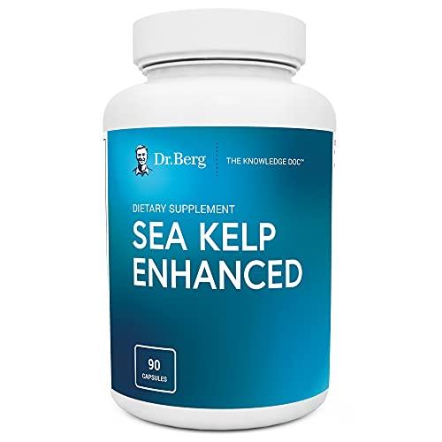 Dr. Berg's Sea Kelp Enhanced - Pure Healthy Thyroid Support Natural Iodine Supplement w/Organic Sea Kelp, Blue-Green Algae & Red Algae - Immune System & Metabolism Support - 90 Capsules