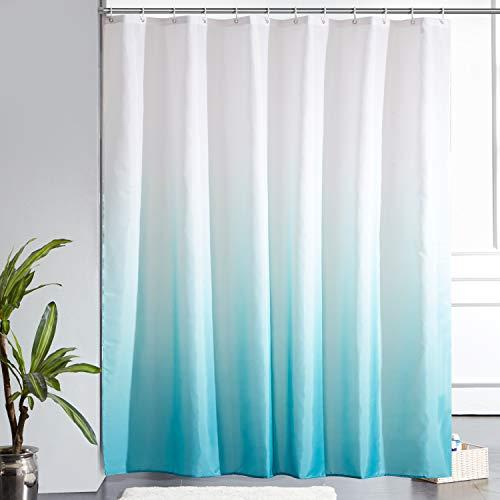 Furlinic Duschvorhang Badvorhang Anti-schimmel Textil für Badewanne Bad Vorhang aus Stoff Antibakteriell Waschbar mit 12 Duschringen Extra Groß Weiß nach Aquamarine 200x200cm.
