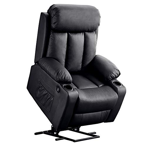 Mcombo Oversized Electric Power Lift Recliner Chair Sofa for Elderly Big and Tall People, 3 Positions, 2 Side Pockets and Cup Holders, USB Ports, Faux Leather 7406 (Black)