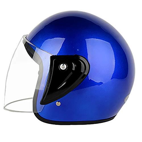 ZWL Ouvert Moto Casque Quatre Saisons Hommes et Femmes Demi Casque Robuste tête Protection Tour tête 59-62cm,Blue