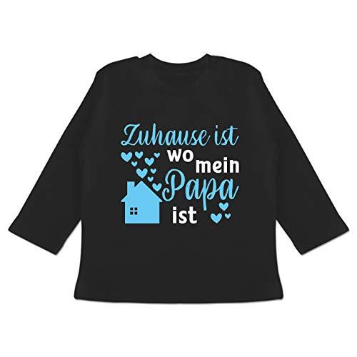 Vatertagsgeschenk Tochter & Sohn Baby - Zuhause ist wo Mein Papa ist blau/weiß - 18/24 Monate - Schwarz - Papa - BZ11 - Baby T-Shirt Langarm