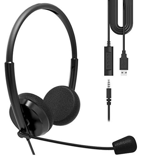 Geekria - Auriculares USB con micrófono y opción de silencio, auriculares con cable para PC, portátil, tablet, auriculares con micrófono con cancelación de ruido, comodidad todo el día para reuniones, centro de llamadas, escuela (negro)