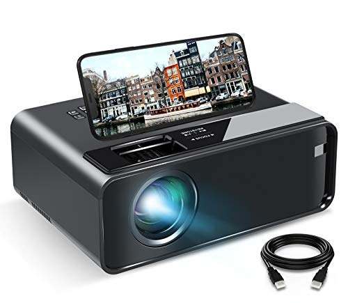Videoprojecteur WiFi, ELEPHAS Mini Projecteur 6000lux avec Recopie de l'écran (Affichage sans Fil) Portable 1080p Full HD Home Cinéma Compatible avec la clé TV, Ordinateur Portable, Téléphone