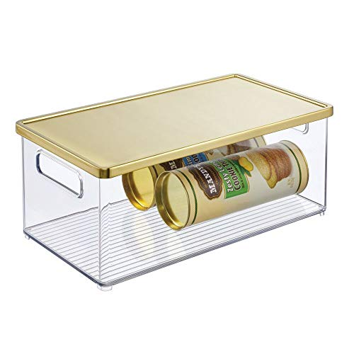 mDesign Plastic Stackable Kitchen Pantry Cabinet, Refrigerator, Freezer Food Storage Bin Box with Handles, Lid - Organization for Fruit, Jars, Snacks, Pasta - 15' Long - Clear/Brass Lid