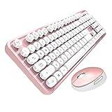 LXFTK Teclado inalámbrico Mouse Retro Punk Suspensión Keycap Computer Notebook Office Keyboard Mouse Set 104 Teclas-Pink