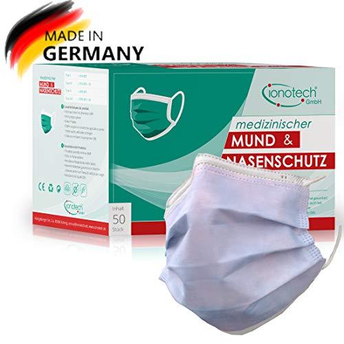 ionotech Mund & Nasenschutz Typ IIR, 50 Stück, Made in Germany, Zertifiziert nach DIN 14683, CE, BFE > 99% (Blau)