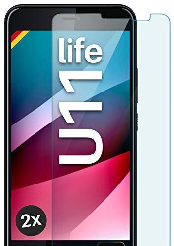 moex Panzerglas kompatibel mit HTC U11 Life - Schutzfolie aus Glas, bruchsichere Bildschirmschutz Folie, Crystal Clear Panzerglasfolie, 2X Stück