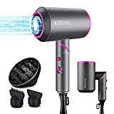 Hair Dryer, 1800W Professional Salon Negative Ionic Hair Blow Dryer with 2 Nozzles and 1 Diffsuer, Foladable Dryer with 3 Heats/2 Speeds/1 Cool button Settings, Upgrade Safety Protection