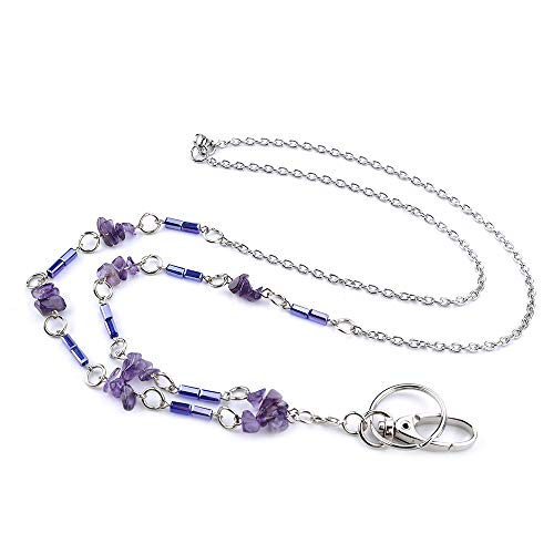 LUXIANDA Blue Barrel Beads and Purple Heart-Shaped Beads ID Necklaces ID Beaded Lanyards for Keys ID Badge Holder Stainless Steel Chain