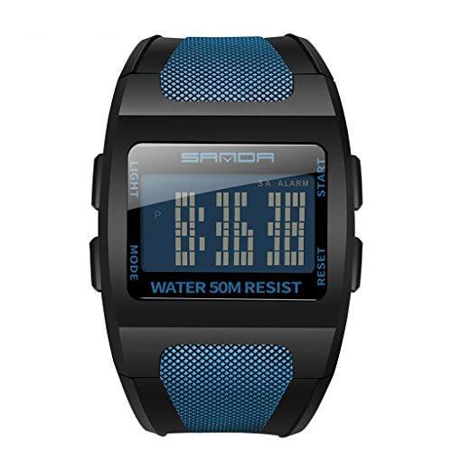 jieGorge Reloj Deportivo, LED, multifunción, Esfera Ancha, Reloj electrónico Digital Monocromo, Joyas y Relojes (Azul)