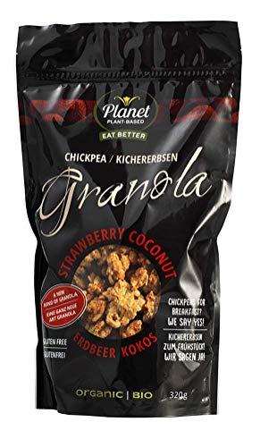 """Planet Plant Based Bio Granola """"fresas/ coco"""" a base de garbanzos (320 gramos por unidad) - rico en nutrientes, fibra y proteínas - sabor: fresas/ coco - 320 gramos - vegano, sin gluten"""
