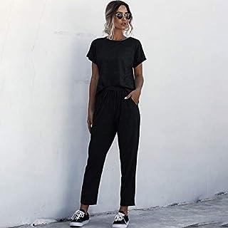 Tickas T-shirt Pants,Women Solid Short Sleeves T-shirt Pants Set Round Neck Elastic Waist Pockets Comfortable Tracksuit Casual 2pcs Loungewear