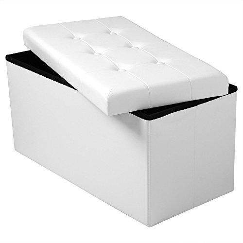 WOLTU® Sitzhocker mit Stauraum Sitzbank faltbar Truhen Aufbewahrungsbox, Deckel abnehmbar, Gepolsterte Sitzfläche aus Kunstleder, belastbar bis 300KG, 76x37,5x38CM, Weiß, SH16ws