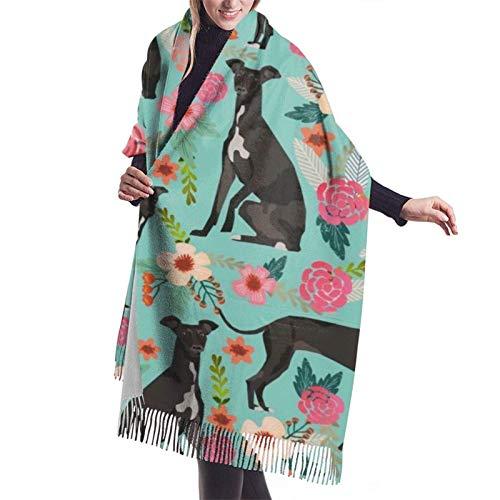 Chal grande de cachemira de galgo italiano Chal de abrigo de bufanda cálido grueso de invierno