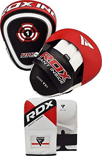RDX Colpitori Boxe Guanti da Passata MMA Arti Marziali Pao Muay Thai Curva Colpitore Coppia Kick Boxing Pugilato Allenamento Pelle Maya Hide Focus Pads