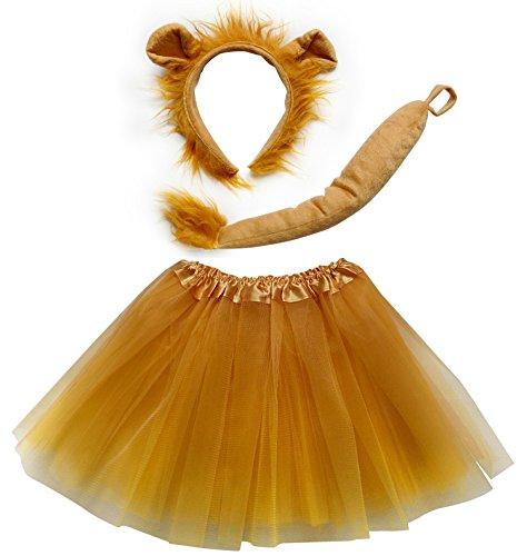 So Sydney Kids Teen Adult Plus Tutu Skirt, Ears, Tail Headband Costume Halloween Outfit (Kid Size), Lion Gold & Brown