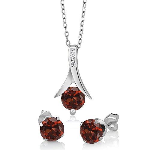 Gem Stone King Sterling Silver Red Garnet Earring & Pendant Set (2.25 cttw, 6MM Each Garnet, With 18inches Silver Chain)