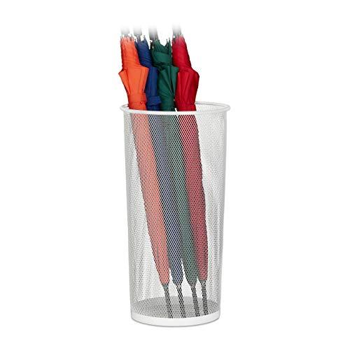 Relaxdays Schirmständer, für Regenschirme & Gehstöcke, rund, Metall, Gitter Optik, Schirmhalter, HxD: 49,5 x 26 cm, weiß, 1 Stück