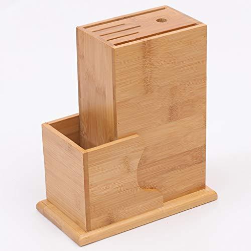 WZHZJ Bambú universal Bloque de cuchillos Sin Cuchillo antideslizante del cuchillo de cocina del estante del sostenedor del estante de almacenamiento de bambú cuchillo bloque de corte de cuchillo coci