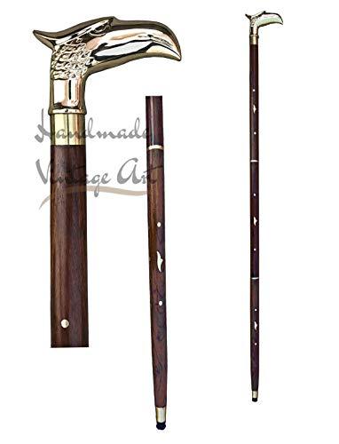 Walking Stick Antique Brass Victorian Handle Wooden Vintage Style Cane Designer