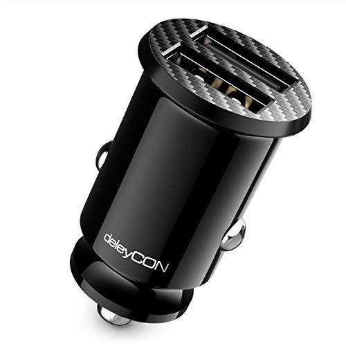 deleyCON Cargador de Coche USB para Encendedor de Cigarrillos 4,8A - Carga Rápida de 4800mA con Doble Puerto USB - Mini Cargador para Coche