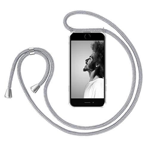 ZhinkArts Handykette kompatibel mit Apple iPhone 6 / 6S - Smartphone Necklace Hülle mit Band - Handyhülle Case mit Kette zum umhängen in Weiß - Silber