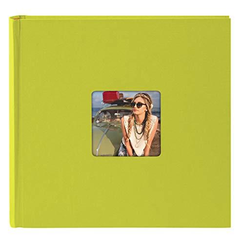 goldbuch 31096 Fotoalbum Living, Erinnerungsalbum mit Bildausschnitt, Fotobuch mit 100 cremeweißen Seiten mit Pergamin Trennblätter, Foto Album zum Einkleben in Leinenoptik, ca. 30x30 cm, Grün