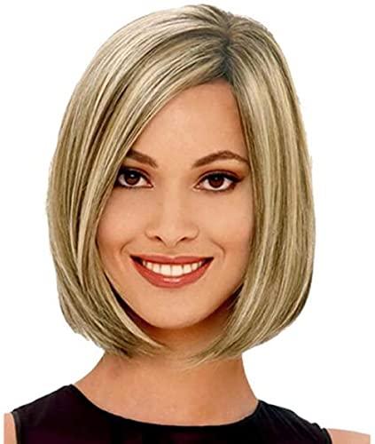 Peluca corta rubia de las mujeres del pelo recto Natural Fancy Dress Party Hair resistente al calor Cosplay Halloween peluca