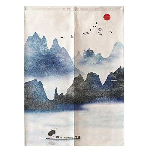 Fenteer Noren, Cortina Japonesa, Puerta Corta, Tapicería, Algodón, Lino, Decoración De La Habitación - Montañas y pájaros-75x120cm