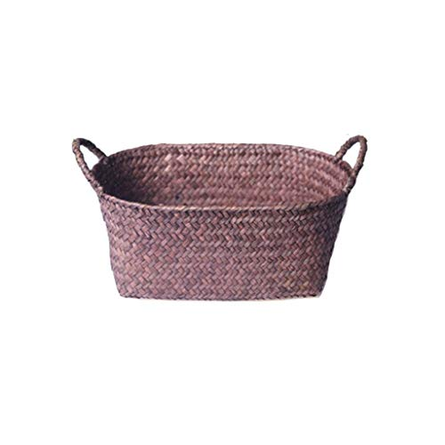 Xu Yuan Jia-Shop Laundry Basket Natural Seagrass Woven Basket Cosmetics Books Snacks And Other Debris Storage Basket Laundry Hamper (Color : Multi-colored-C, Size : S)