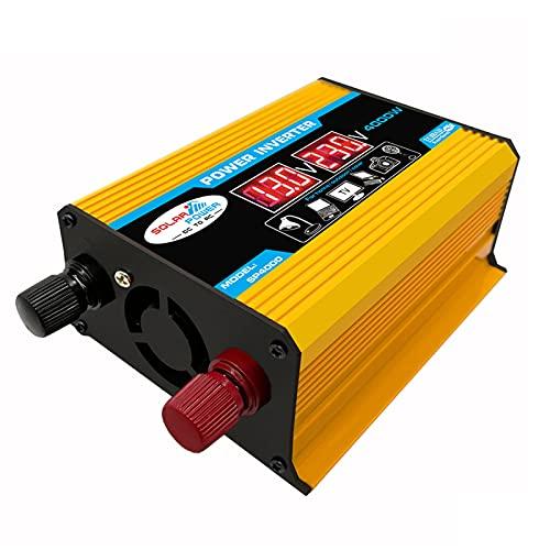 SDDDS Inversor de alimentación, Salida del Adaptador de Enchufe de automóviles 300W, DC 12 V a 110V / 12V a 220V Convertidor de CA, inversor de Corriente de Pico 4000W, Pantalla LED