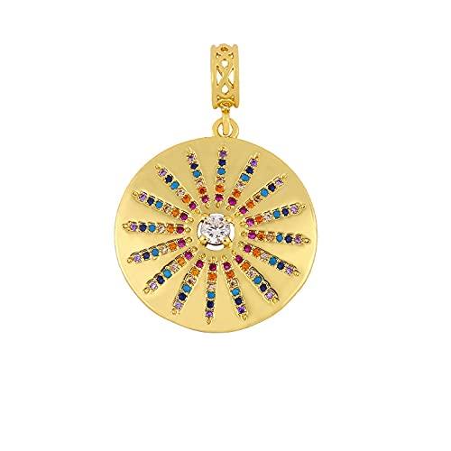 Revilium Hip Hop Cadena Gruesa Evil Eye Coin Collares Pendientes Collar De Cristal Dorado Accesorios Joyería Hecha A Mano