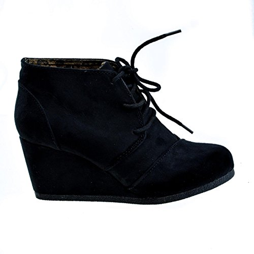 City Classified Rex Lace Up Ankle Bootie Wedge,Black IMSU,5.5