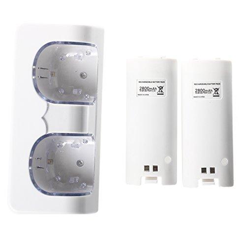 TOOGOO(R) Superior LED Luz de carga Mas 2 de alta capacidad recargable Bateria de repuesto Compatible con Nintendo Wii de control remoto libre con cable USB