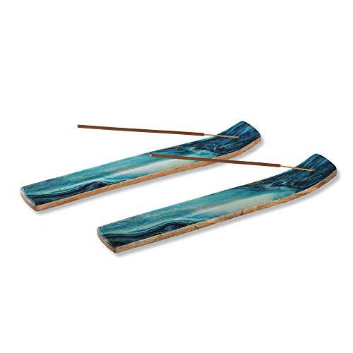 Folkulture Set of 2 Incense Holder or Incense Burner for Insence Sticks, Ash Catcher or Insence Burner Holder for Home Decor, Wooden Insense Stick Holders or Inscent Tray, Mango Wood, Blue