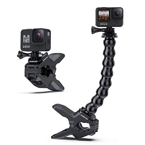 Sametop Jaws Flex-Klemme Einbein Stativ Klemmhalterung mit Schwanenhals Kompatibel mit GoPro Hero 9, 8, 7, 6, 5, 4, Session, 3+, 3, 2, 1, Hero (2018), Fusion, Max Kameras
