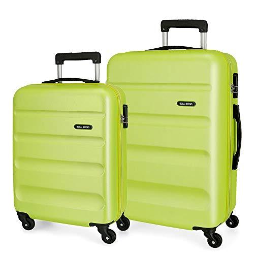 Roll Road Flex Juego de maletas Verde 55/65 cms Rígida ABS Cierre combinación 91L 4 Ruedas Equipaje de Mano