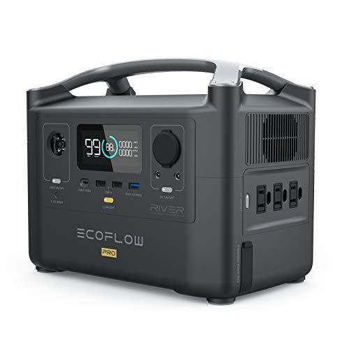 EF EcoFlow(エコフロー) ポータブル電源 RIVER Pro 720Wh 出力600W(瞬間最大1200W) X-Boost機能付き 1.6時間フル充電 家庭用 アウトドア用 バックアップ電源 車中泊 アウトドア キャンプ 地震停電対応 防災グッズ 非常用電源 50Hz/60Hz対応 純正弦波 液晶大画面表示