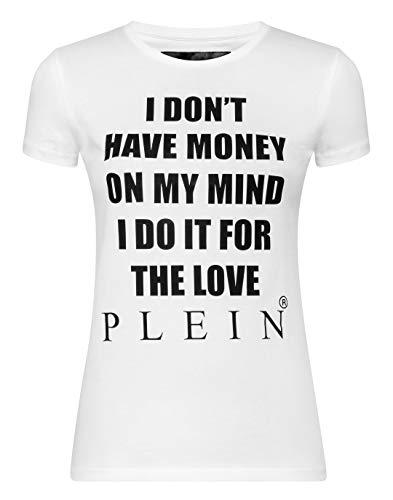 Philipp Plein Damen T-Shirt Round Neck SS Statement Schwarz Large